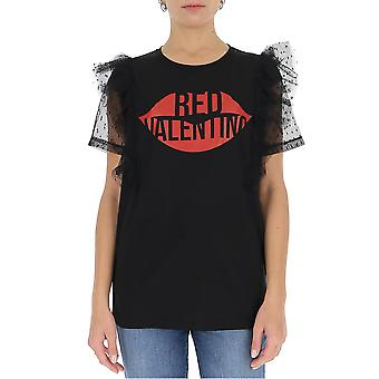 Red Valentino Ur0mg07s5k40no Women's Black Cotton T-shirt