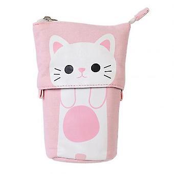 Nieuwe Canvas Cartoon Cute Cat Telescopische Potlood Pouch Bag BriefPapier Pen Doos Box