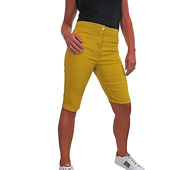 icecoolfashion Mujer Cintura Alta Skinny Stretch Pedal Pusher Estilo Shorts
