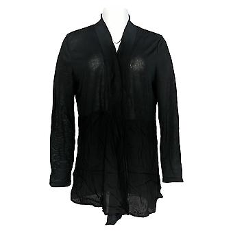 Rhonda Shear Mujeres's Suéter Negro de Manga Larga Cardigan Collared 685-143