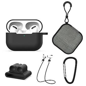 5 in 1 AirPods Zubehör Kit Silikon Fall mit BuckleApple AirPods Pro schwarz