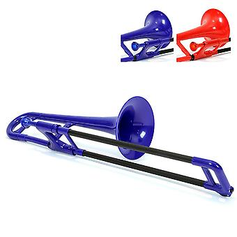 Pbone mini plastic trombone met mondstuk en dragen tas kinderen beginnende kinderen - blauw