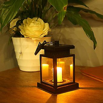 Waterproof Solar Lantern Hanging Led Flicker Flameless Candle Light