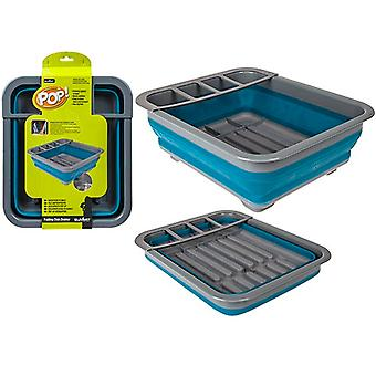 Summit Pop! Collapsible Dish Rack Drainer with Draining System - Blue / Grey