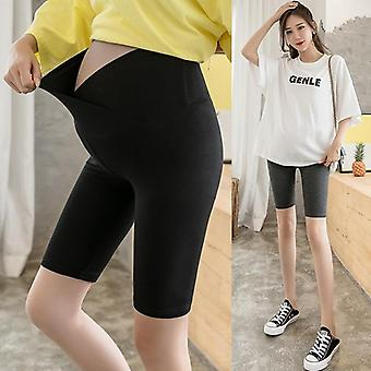 Summer Thin Cotton Maternity Half Legging, Across V Low Waist Belly Short