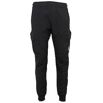 C.p. company men's black diagonal lens fleece cargo pants