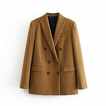 Women Elegant Long Sleeve Double Breasted Blazer Jacket, Casual Solid, Chic