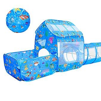 Children's Play Tent With Tunnel 3-piece Set,indoor And Outdoor Ocean Playhouse