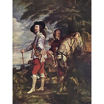Charles I Painting By Sir Anthony Van Dyck King Charles I Of England 1600 - 1649 From The Worlds Greatest Paintings Published By Odhams Press London 1934 PosterPrint
