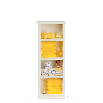 Dolls House kapea hylly yksikkö sitruuna pyyhkeet &; Tarvikkeet 1:12 Kylpyhuoneen huonekalut