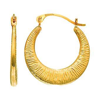 14K Yellow Gold Graduated Textured Hoop Earrings, Diameter 17mm