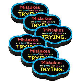 Magnetic Whiteboard Eraser: Mistakes Quote, Pack Of 6