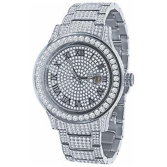 Hög kvalitet Iced out zirconia rostfrittstål Watch-Silver