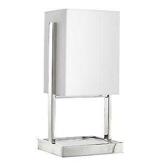 Lámpara de mesa rectangular de metal de sombra con base de mármol, plata y blanco