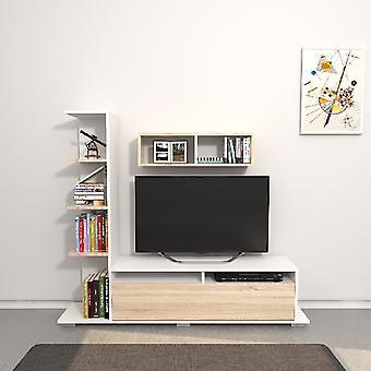 Mobiele Argo TV poort White Color, Sonoma in Melamine Spaanplaat, L150xP28xA125 cm, L70XP20xA20 cm