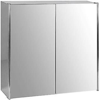 Bath Vida Tiano Bathroom Cabinet Double Door Mirrored Wall Mounted Stainless Steel Modern