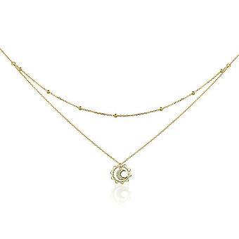 Double chain sun necklace