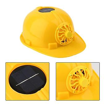 Cooling Cool Fan Safety Helmet Hard Ventilate Hat Cap, Comfortable Solar Panel