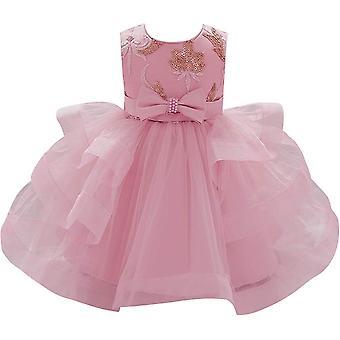 Baby Meisje Formele Doop Prinses Jurk 1131-bean Roze