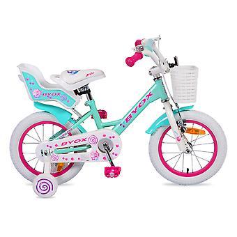 Barnens cykel 14 tum cupcake, stödhjul, främre korg, docka sits, Bell