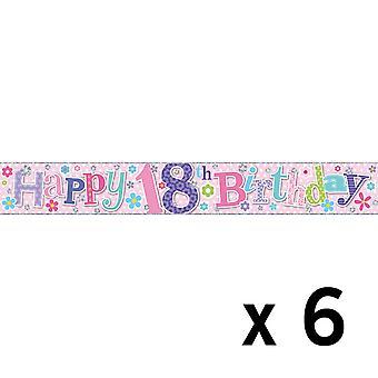 Simon Elvin Foil Banner 18th Birthday (6 Pack)