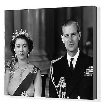 Drottning Elizabeth II och hertig av Edinburgh, 1954. Box Canvas Skriv ut. Drottning Elizabeth II och prins.