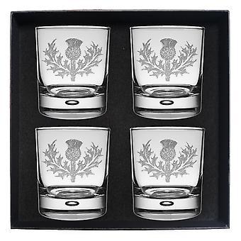 Art Pewter Clan Crest Whisky Glass Set av 4 Rose