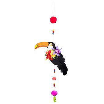 Toekan suspensie met pompoms 70 cm