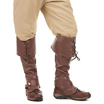 Bruine laarzen faux lederen veters en volwassen bezaaide riem