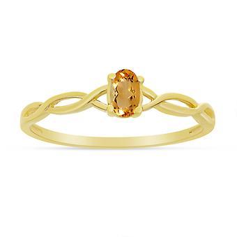 LXR 14k Żółty Złoty Owalny Pierścień cytrynowy 0,15 ct