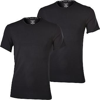 קלווין קליין 2-Pack מודרני כותנה למתוח צוות צוואר חולצות טריקו, שחור