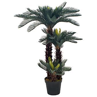 vidaXL Keinotekoinen kasvi Cycas palm ruukku vihreä 125 cm