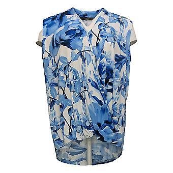 G.I.L.I. got it love it Women's Top Printed Surplice Knit Blue