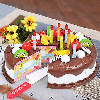 Kitchen, Cake Food Diy Pretend Play, Fruit Cutting Birthday Toy For, Wood