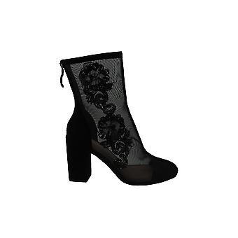 Avec Les Filles Womens Reagan Beaded Mesh Mid-Calf Boots Black 7.5 Medium (B,M)