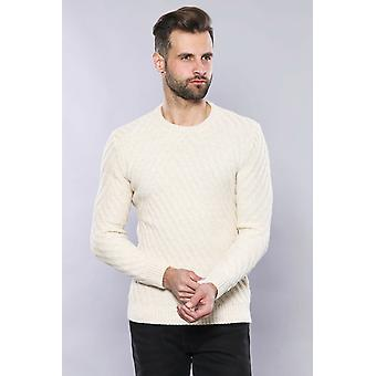 Patterned circle neck cream sweater   wessi