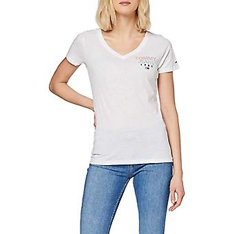 Tommy Jeans Tjw Essential V-Neck Logo Tee T-Shirt, White (White Ya2), 36 (Size Manufacturer: XX-Small) Woman