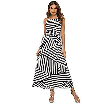 Sexy Boho Striped Sleeveless Maxi Long Dress