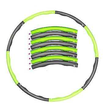 Cerceau portable 8 parties vert et gris détachable, exerciseur abdominal force de remise en forme hula hoop az8934