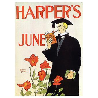 Vintage Advertising Poster Harper'S Kesäkuu 1895 - Canvas Print, Seinätaiteen sisustus