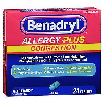 بينادريل بينادريل الحساسية بالإضافة إلى أقراص الازدحام، 24 علامات التبويب