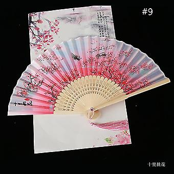 Vintage Style Silk Folding Fan Chinese Pattern Art Craft Gift Home Decoration Ornaments Dance Hand