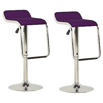 vidaXL Bar Stool 2 pcs. Purple fabric and bentwood
