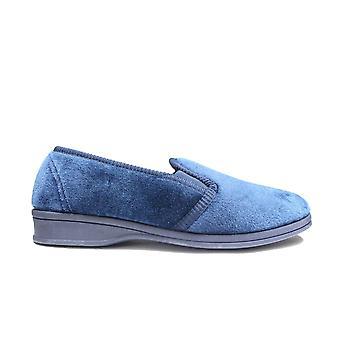 Mirak Stag Navy Velour Textil Hombre Resbalón en zapatillas de zapato completo