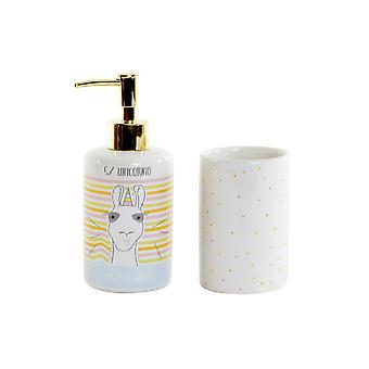 Ensemble de bain DKD Home Decor Céramique ABS Llama (2 pcs)