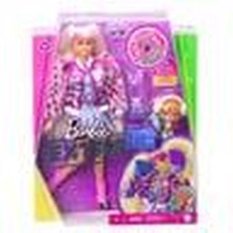 Barbie ekstra dukke med blonde pigtails og kjæledyr teddybjørn figur
