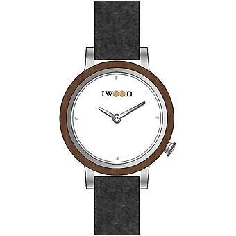 Iwood Grey piele naturală IW18443003 ceas pentru femei