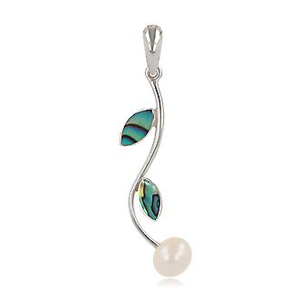 ADEN 925 Sterling Silver Abaloni Bloemblaadjes en Natural White Pearl Hanger Ketting (id 4574)