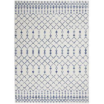 5' x 7' norsunluu- ja sininen berber-kuvioaluematto