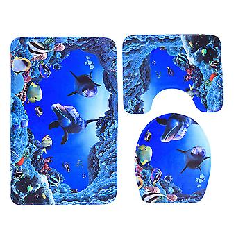 3pcs Flannel Blue Sea Theme Dolphin Shark Bathroom Mat Set Bathroom Carpet Pedestal Lid Mat Toilet Cover Set